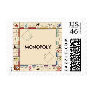 Vintage Monopoly Game Board Postage Stamps