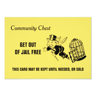 Vintage Monopoly Get Out Of Jail Card