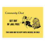Vintage Monopoly Get Out Of Jail Postcard