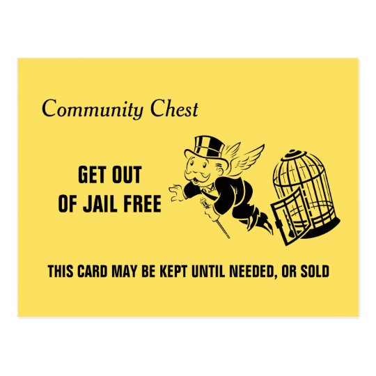 get out of jail free card template - vintage monopoly get out of jail postcard
