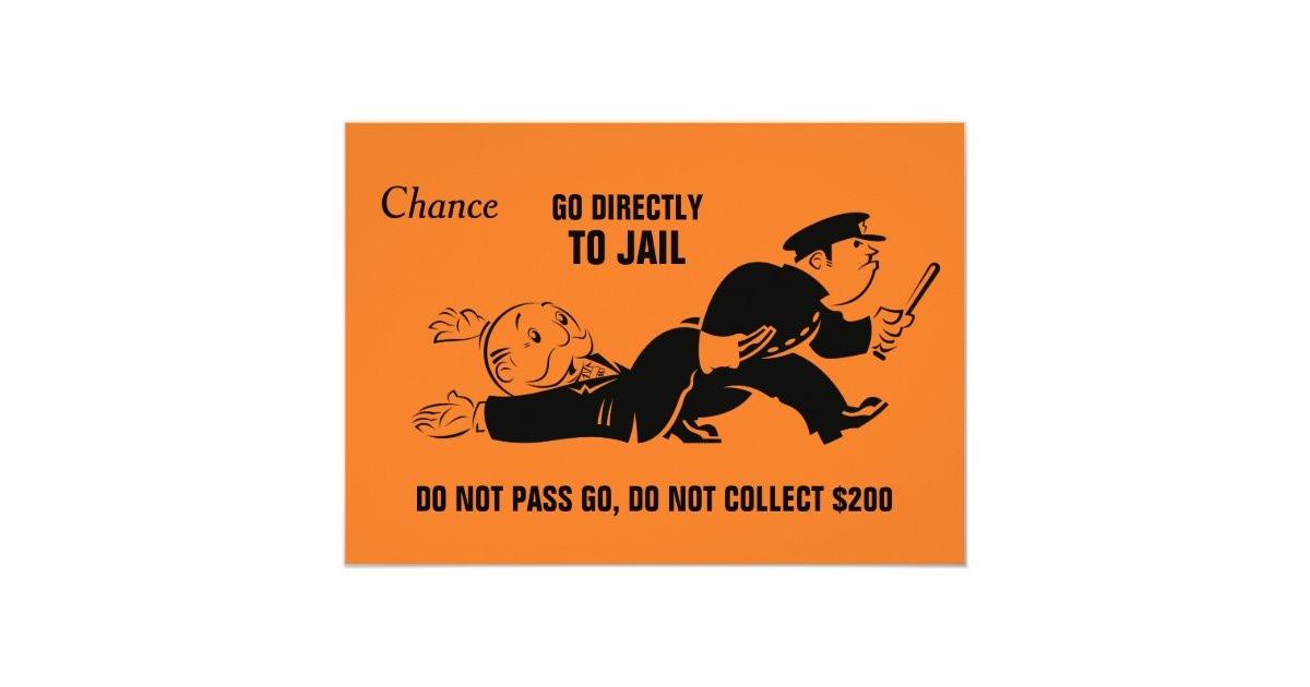 Vintage Monopoly Go To Jail Card Zazzle Com