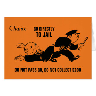 Vintage Monopoly Go To Jail Card