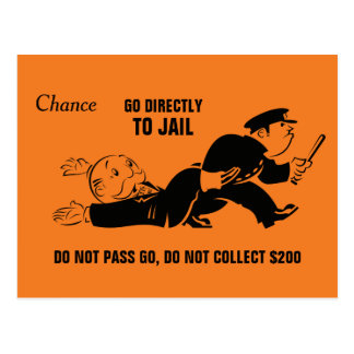 Vintage Monopoly Go To Jail Postcard