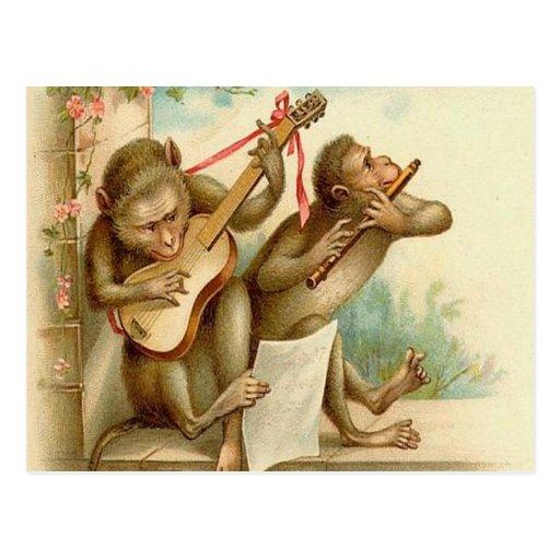 Vintage, monos que tocan los instrumentos tarjetas postales