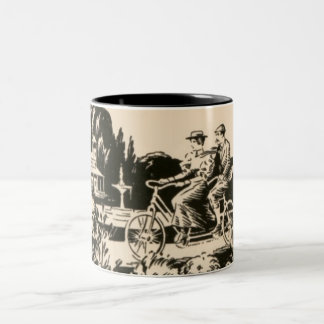 Vintage Monotone Tandem Bicycle Man Woman Nature Two-Tone Coffee Mug