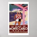 Vintage Monte Carlo Beach Poster