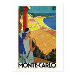 Vintage Monte Carlo Tennis Travel Ad Postcard