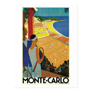 Vintage Monte Carlo Tennis Travel Ad Post Card