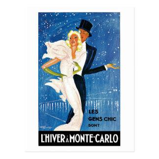 Vintage Monte Carlo Winter Travel Ad Postcard