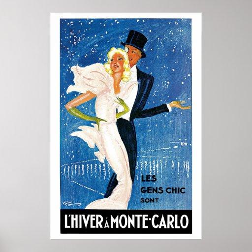 Vintage Monte Carlo Winter Travel Ad Poster