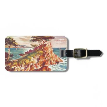 Beach Themed Vintage Monterey Coastline Californian Tourism USA Bag Tag