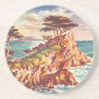 Vintage Monterey Coastline Californian Tourism USA Coaster