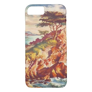 Beach Themed Vintage Monterey Coastline Californian Tourism USA iPhone 7 Case