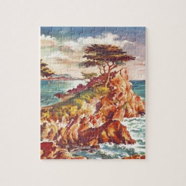 Beach Themed Vintage Monterey Coastline Californian Tourism USA Jigsaw Puzzle