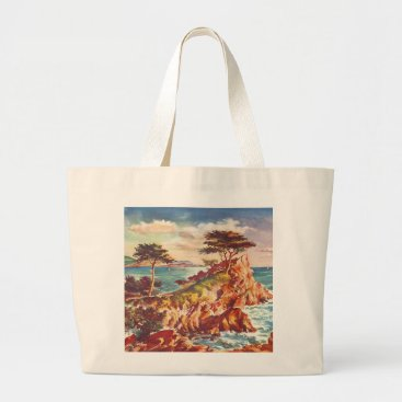 Beach Themed Vintage Monterey Coastline Californian Tourism USA Large Tote Bag