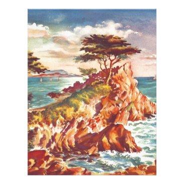 Beach Themed Vintage Monterey Coastline Californian Tourism USA Letterhead