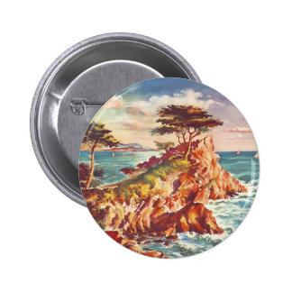 Vintage Monterey Coastline Californian Tourism USA Pinback Button