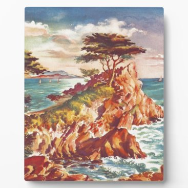Beach Themed Vintage Monterey Coastline Californian Tourism USA Plaque