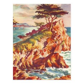 Vintage Monterey Coastline Californian Tourism USA Postcard