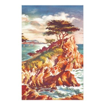 Beach Themed Vintage Monterey Coastline Californian Tourism USA Stationery