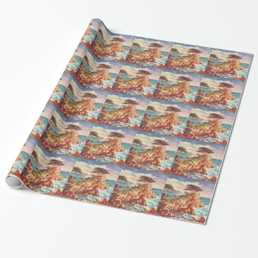 Beach Themed Vintage Monterey Coastline Californian Tourism USA Wrapping Paper