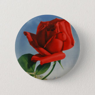 Vintage Montreux Red Rose Switzerland Geneva Lake Button