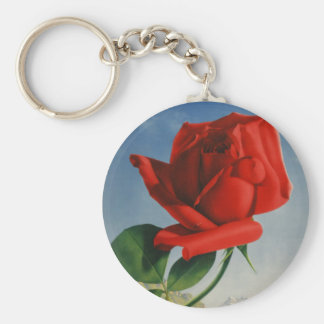 Vintage Montreux Red Rose Switzerland Geneva Lake Keychain