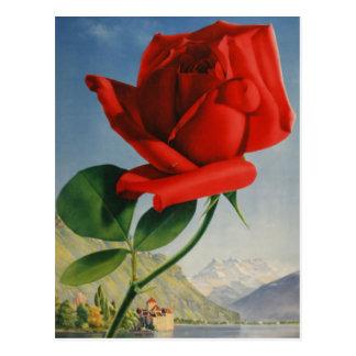 Vintage Montreux Red Rose Switzerland Geneva Lake Postcard