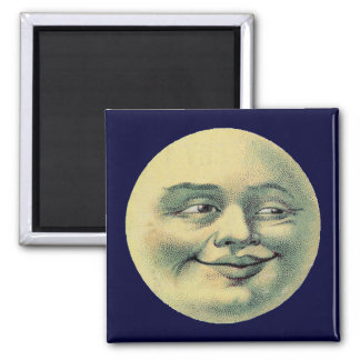 Vintage Moon 2 Inch Square Magnet