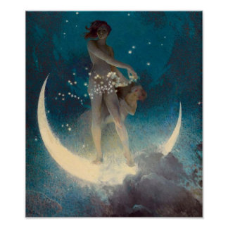 Vintage Moon and Stars Poster