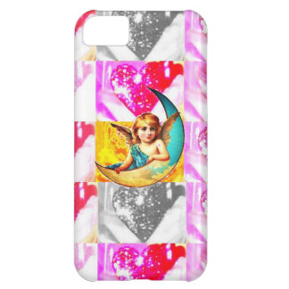 Vintage Moon Angel, Girly Valentine Heart Glitter iPhone 5C Cases