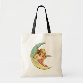 Vintage Moon Angel Tote Bag