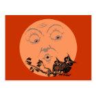 Vintage Moon Halloween Owls Postcard