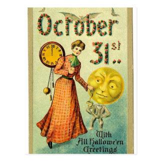 VIntage Moon Man Halloween Greetings Postcard