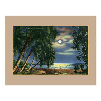 Vintage Moonlight beach view Miami Beach Postcard