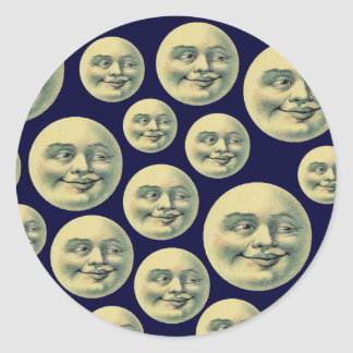 Vintage Moons Classic Round Sticker