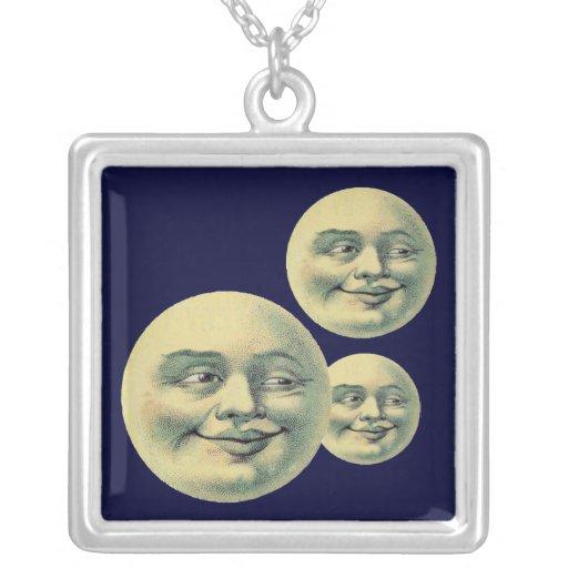 Vintage Moons Square Pendant Necklace