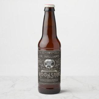 Vintage Moonshine Hillbilly Medicine Custom Brown Beer Bottle Label