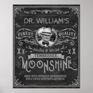 Vintage Moonshine Hillbilly Medicine Custom Gray Poster