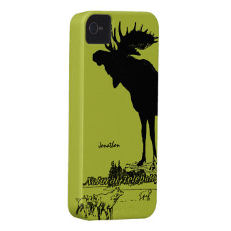Vintage Moose and Wolf Wildlife -Choose Case Color iPhone 4 Case-Mate Case