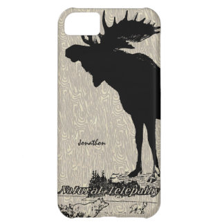 Vintage Moose and Wolf woodgrain iphone case Case For iPhone 5C
