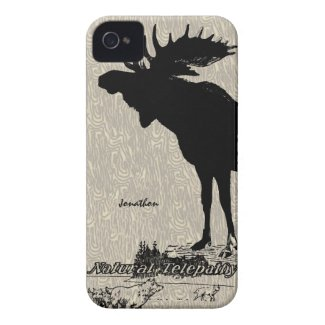 Vintage Moose and Wolf woodgrain iphone case Iphone 4 Cases