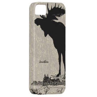 Vintage Moose and Wolf woodgrain iphone case
