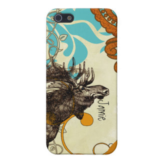 Vintage Moose Aqua Russet Damask iPhone Case For iPhone SE/5/5s