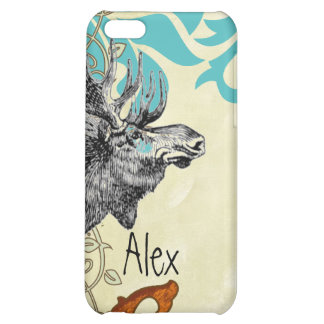 Vintage Moose Aqua Russet Damask iPhone Cover For iPhone 5C