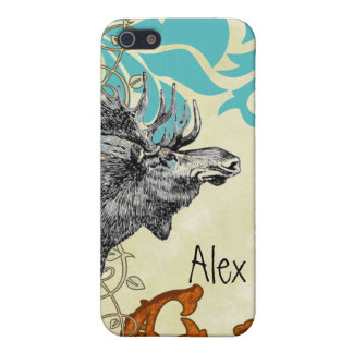 Vintage Moose Aqua Russet Damask iPhone Cover For iPhone 5