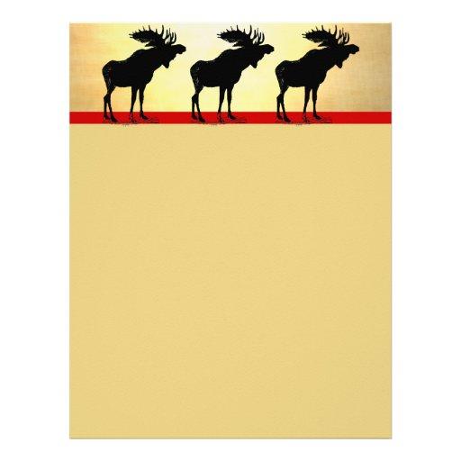 Vintage Moose Christmas Letterhead Template