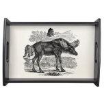 Vintage Moose Elk Personalized Animal Illustration Service Trays