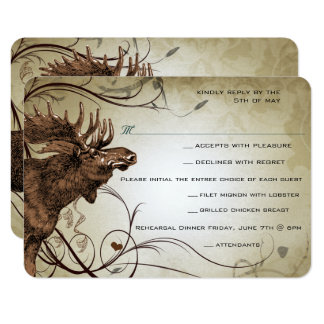 Vintage Moose Forest Lodge Ranch Wedding RSVP Card