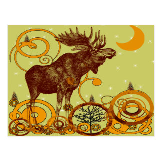 Vintage Moose Gifts Postcard